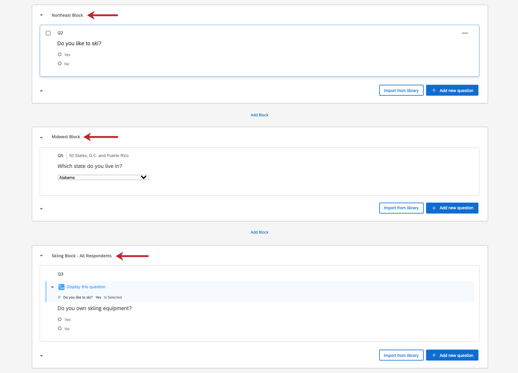 Image of two region blocks and follow up question block in survey editor