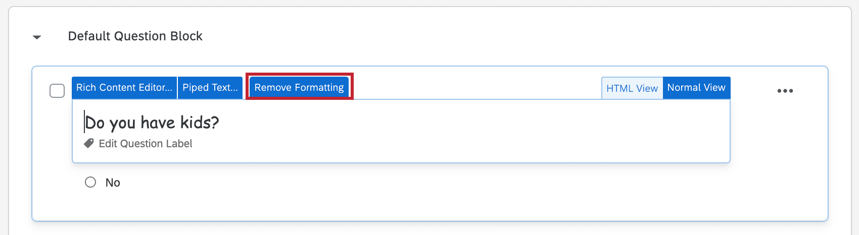 Remove Formatting option in the question