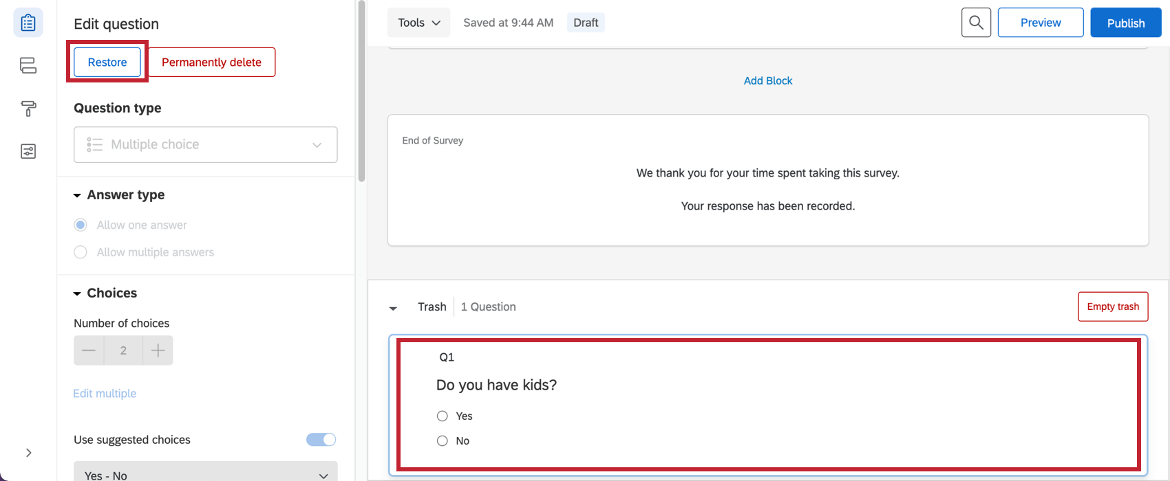 Restoring a question from the trash
