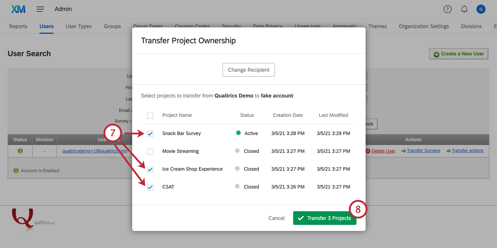 Choosing the projects to transfer