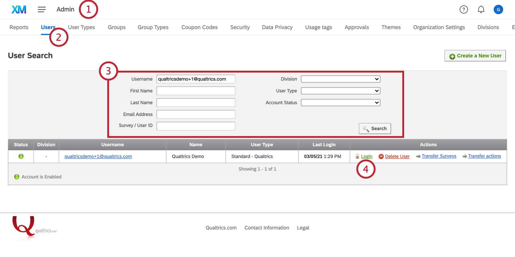 Option to proxy login on the Users page