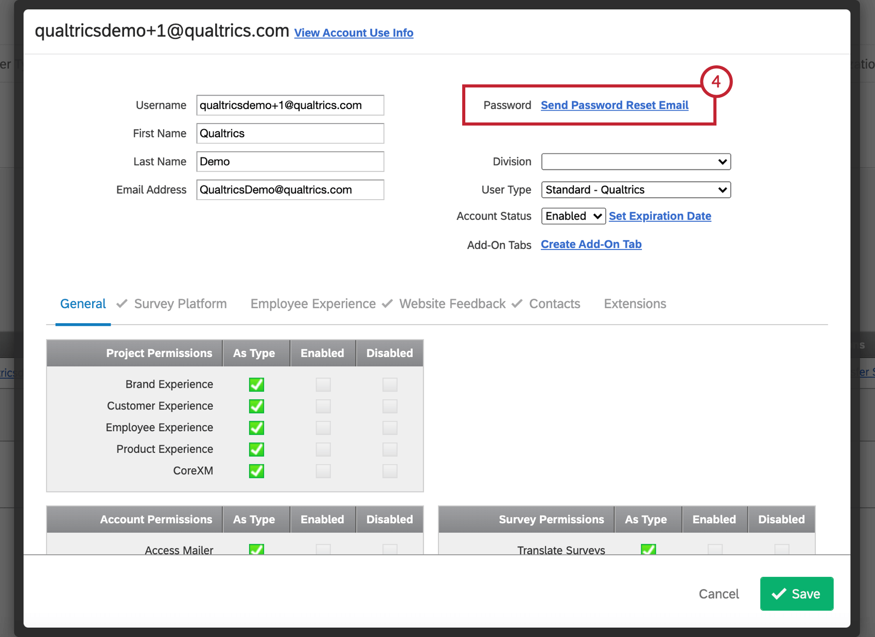 Send a password reset email button in the user settings