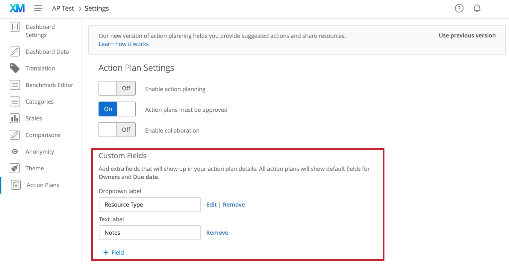 In action plans section of dashboard settings, section for custom fields
