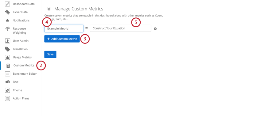 Custom Metrics tab in Settings. Add Custom Metric button blue.