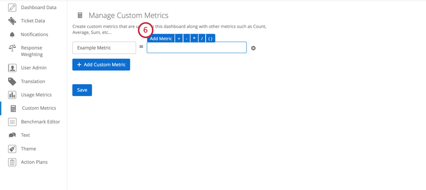 Add Metric option appears when you click the textbox