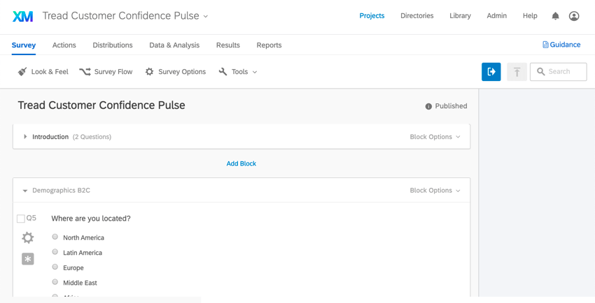 a custom pulse project in the survey tab