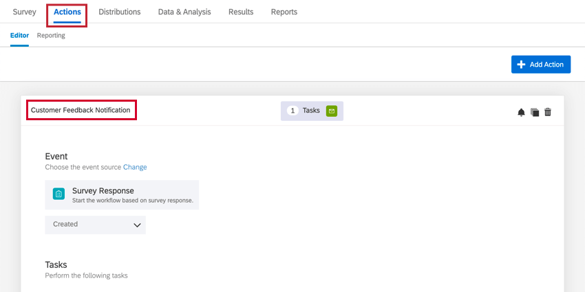 navigating to the actions tab and selecting the customer feedback notification action