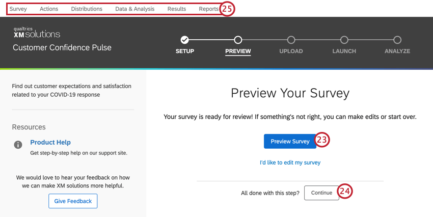 the preview window to preview your survey, or use the tabs at the top to navigate to other parts of your project