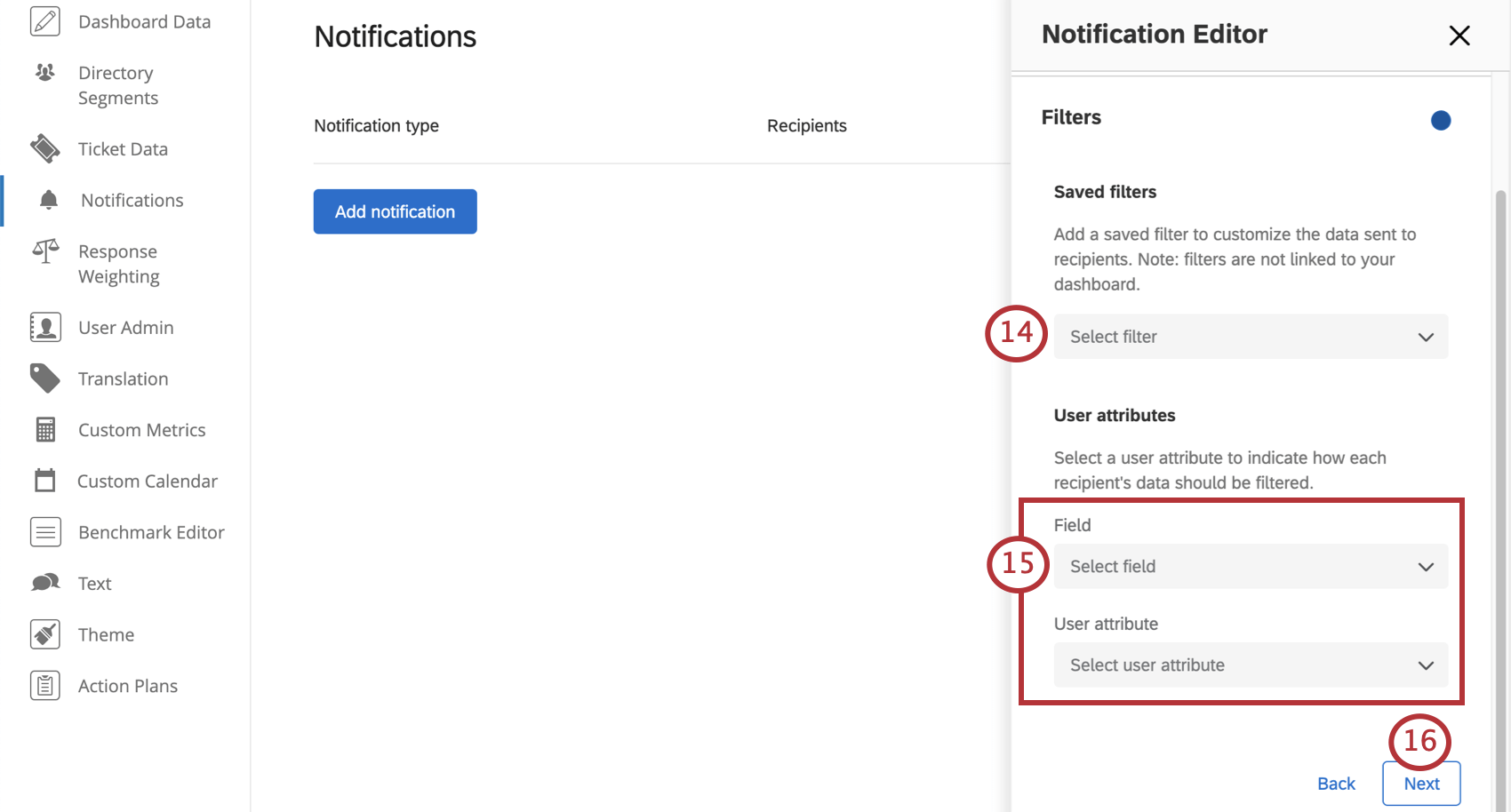 Field for filters, then a field for entering user attributes and values