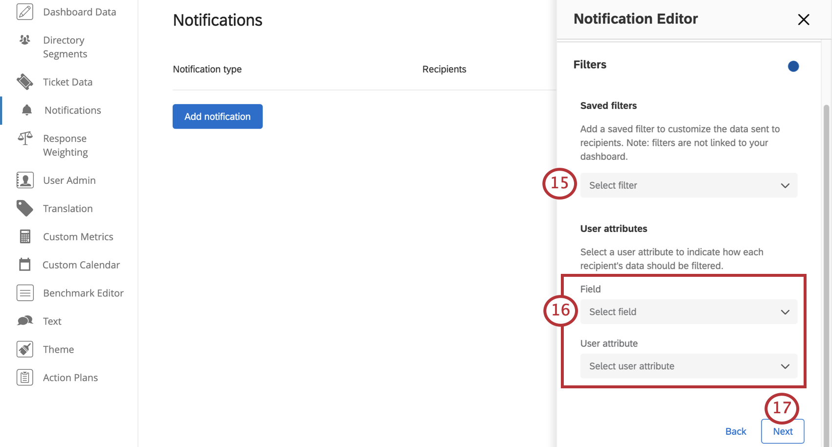 Field for selecting from a list of filters