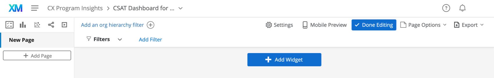 Editing mode. Done editing button blue upper-right, add widget button bottom center