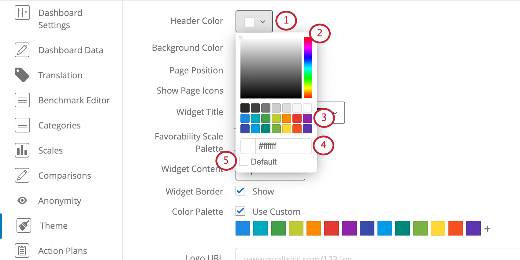Menus for selecting theme colors