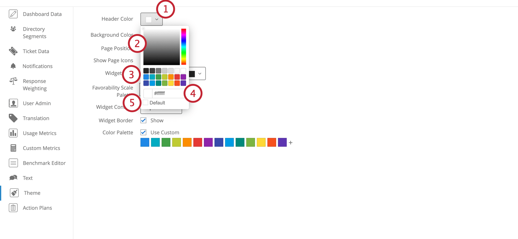 Header color expanded with parts of the color selector numbered