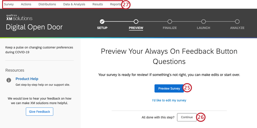 clicking preview survey or using the top tabs to navigate