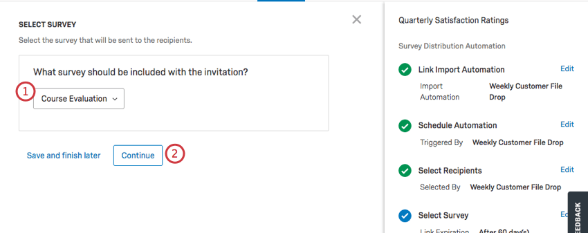 Selecting the survey