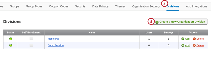image of the division section of the admin tab. The Create a New Organization Division in the top right is highlighted
