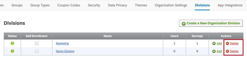 Image of the division section of the admin tab. The delete button to the right of a division is highlighted.
