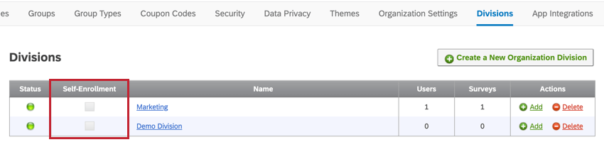 image of the divisions section of the admin tab. The self-enrollment check box is to the left of the division name.
