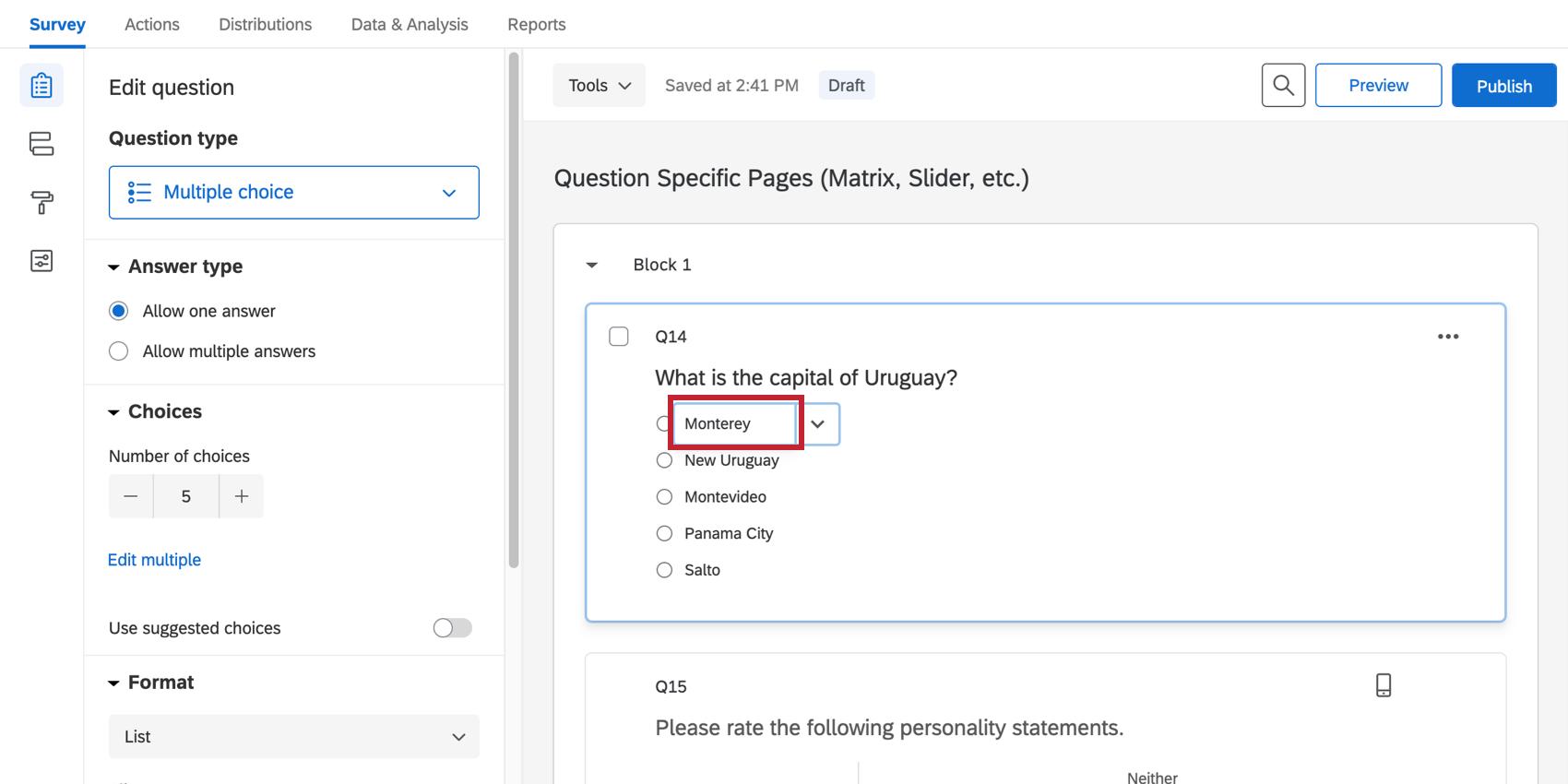 Editing an answer choice
