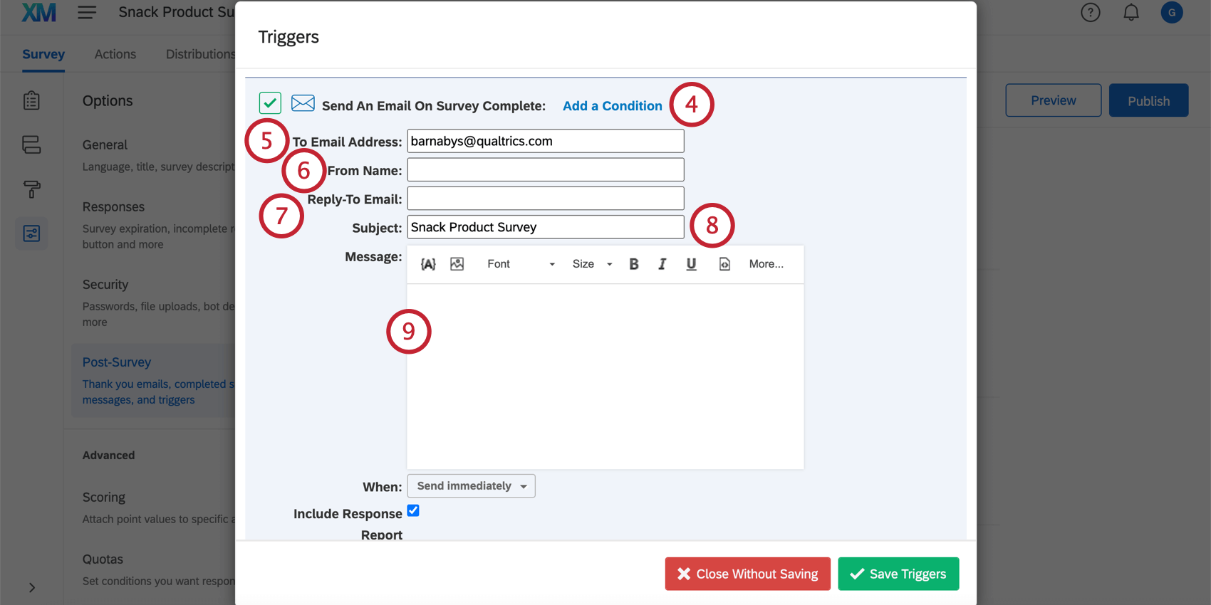 Options at the top of the email trigger