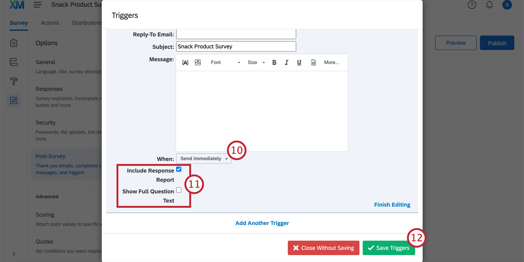 Additional options at the bottom of the email trigger