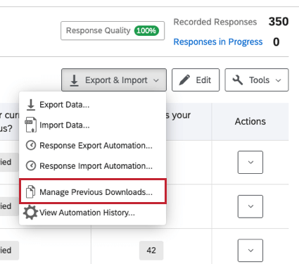 Manage Previous Downloads in the Export & Import drop down menu
