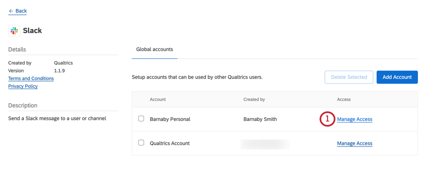 the manage access button for a 3rd party account