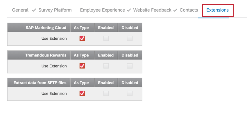 the extensions section of the user permissions window