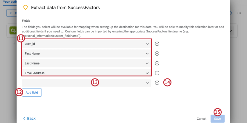 selecting fields to extract from successfactors