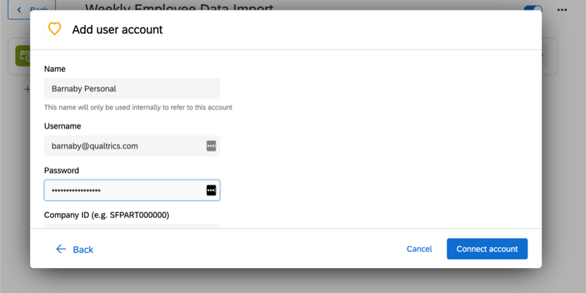 adding credentials for a new user account