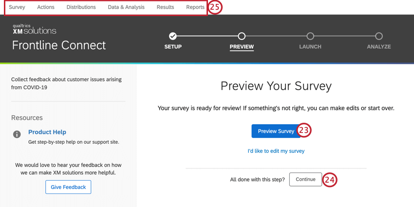 clicking preview survey, or using the top tabs to navigate