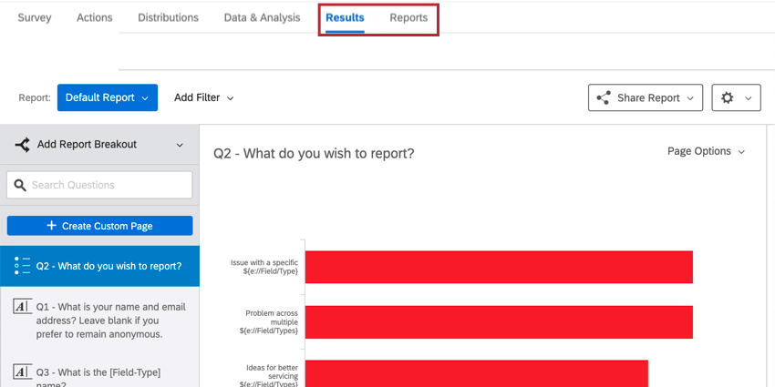 navigating to results and reports