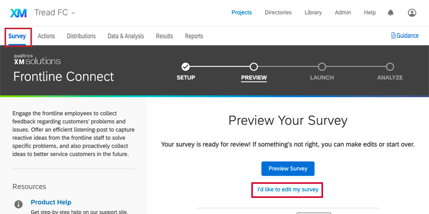 navigating to the survey tab or clicking i'd like to edit my survey