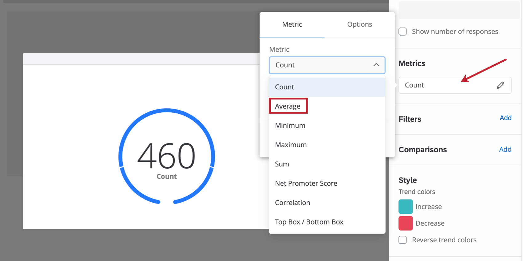 Clicking count opens menus to the left where the average can be configured