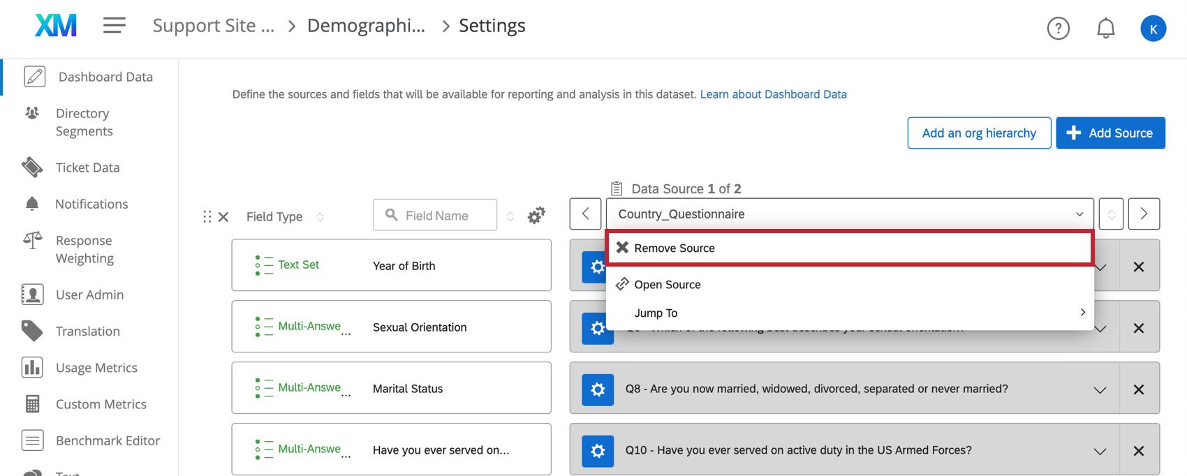 Dashboard Data project mapper page. Dropdown menu has a remove option