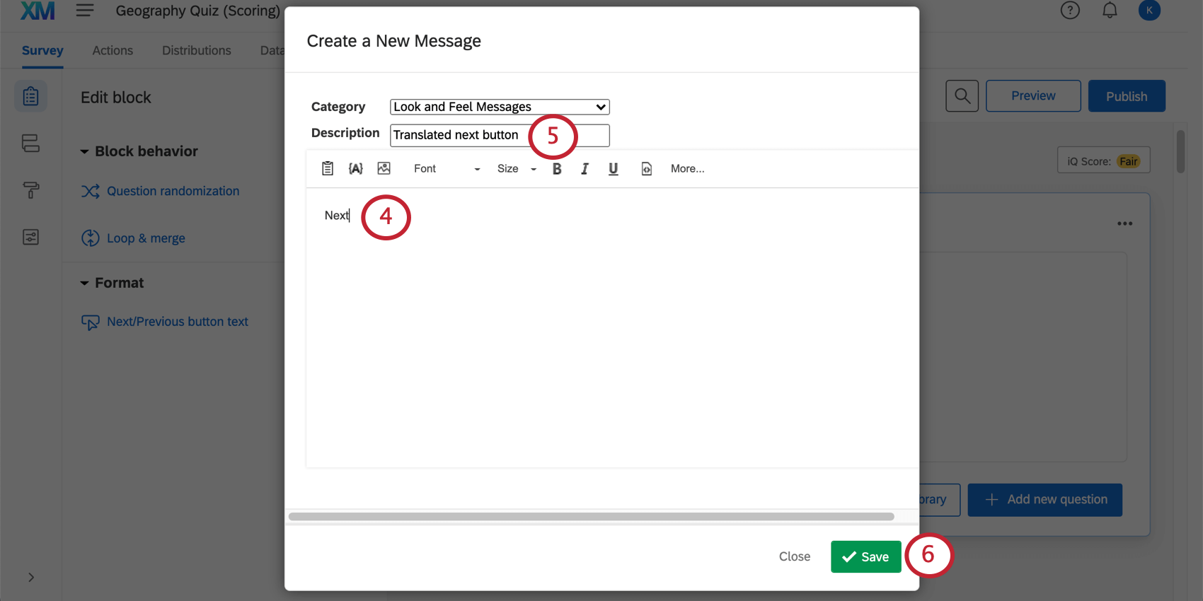 image of the create new message screen for creating a message for next/previous buttons.