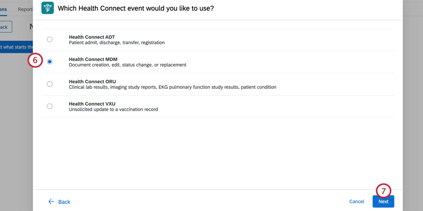 choosing the desired type of health connect event