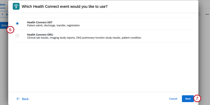choosing to use either ADT or ORU health connect events