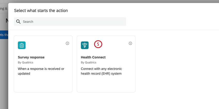 the event selection window with the health connect event highlighted