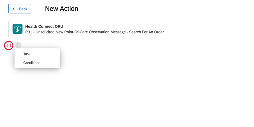 clicking the plus sign in the actions editor to add tasks and conditions