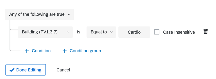 creating a condition for when building name is equal to cardio