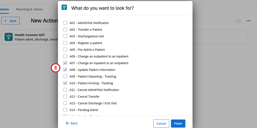 selecting the ADT events we want to look for