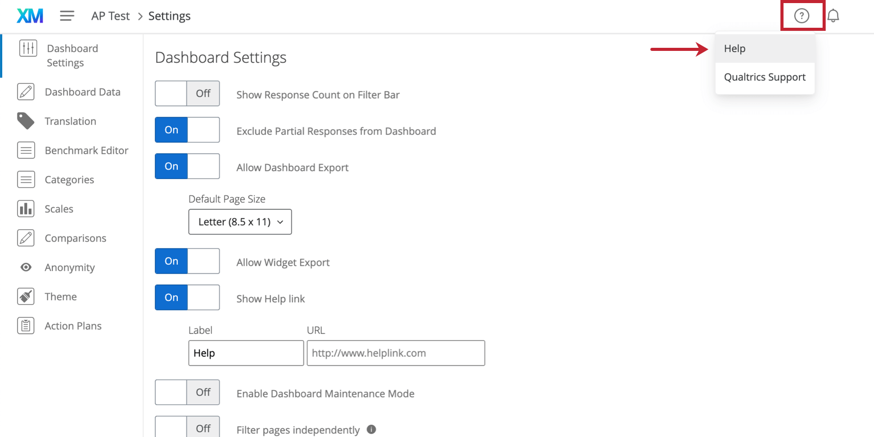 Question mark button opens to have an option for qualtrics support and the custom help link