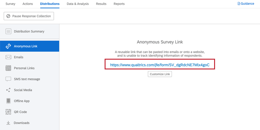 selecting the anonymous link