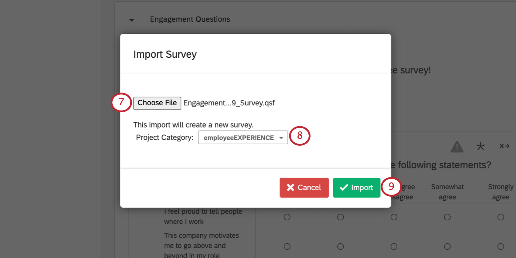 The Choose File button on the Import Survey window