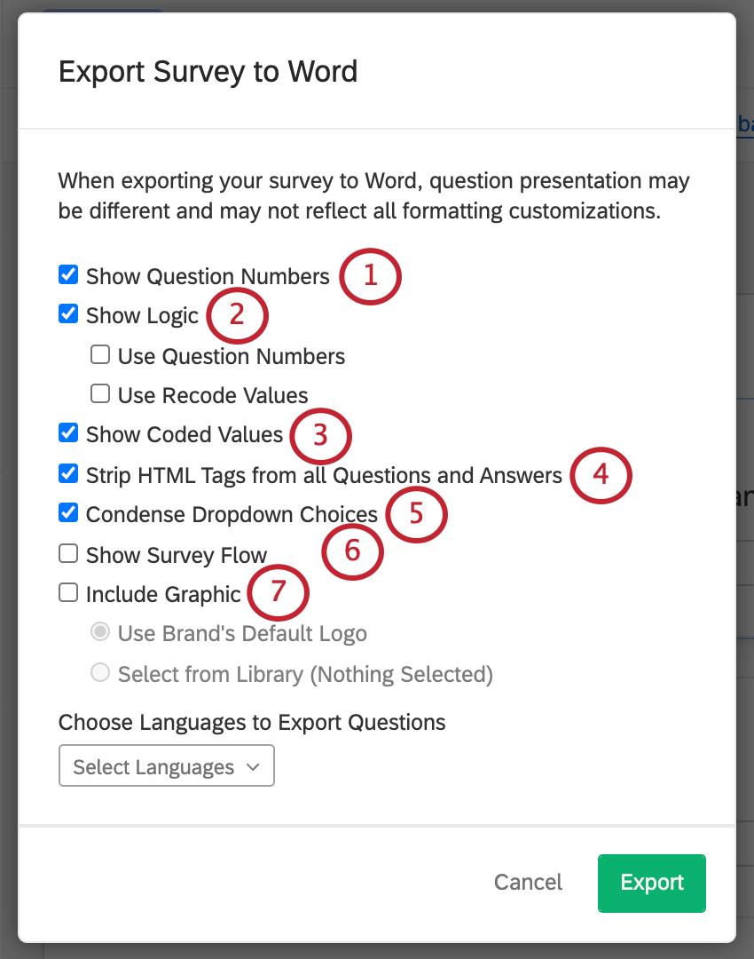Export Survey to Word window