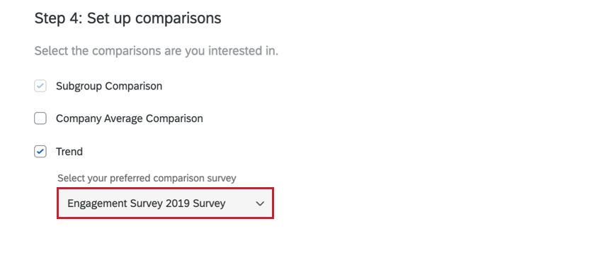 for a trend comparison, choosing the comparison survey using the dropdown menu