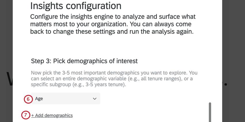 selecting a demographic, and adding more demographics