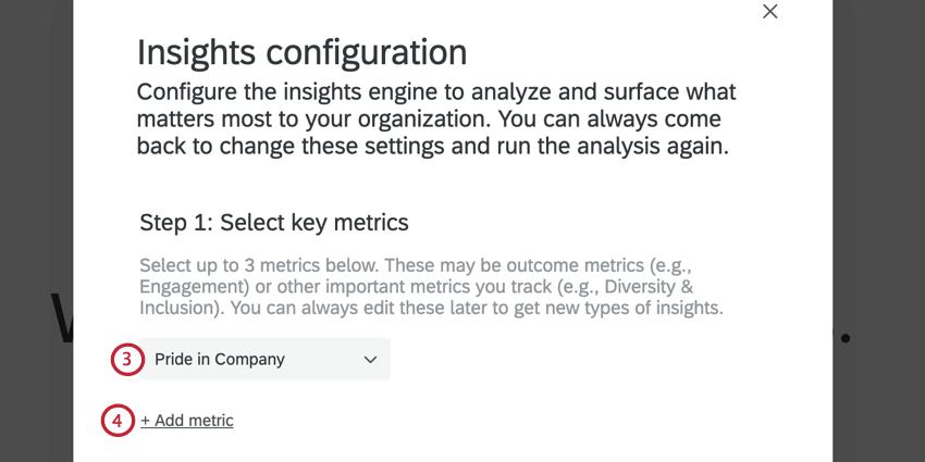 selecting a key metric, and adding additional metrics