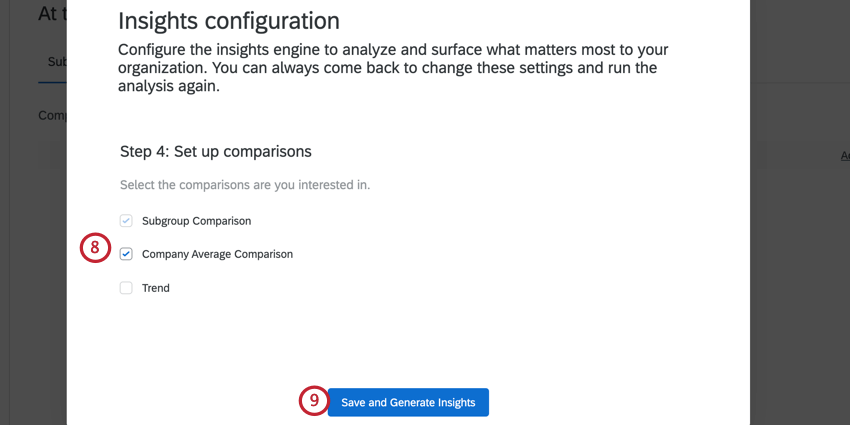 choosing the comparisons and clicking generate insights